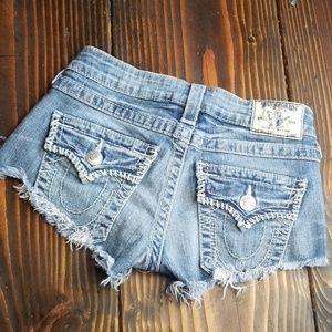 True Religion Cut Off Denim Shorts Sz 25